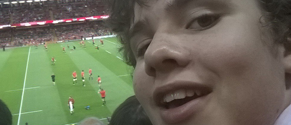 Image showing Thomas, a rugby fan who has won his story on a seat at the stadium