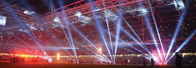 Principality Stadium pitch lit up at night