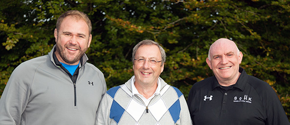 Graeme Yorston with Scott Quinnell and Ken Cowen at Principality Golf Day