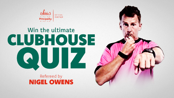 Image of Nigel Owens which reads 'win the ultimate clubhouse quiz'