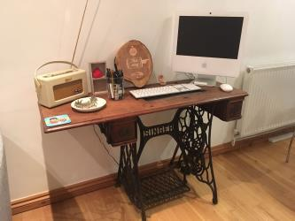 Sewing machine table turned into stylish desk