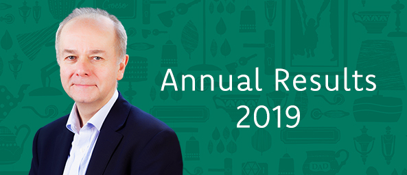 Image reads Annual Results 2019, with an image of Mike Jones, Interim CEO of Principality Building Society