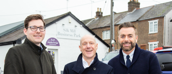 Image showing Principality Commercial colleagues with Joe Burns, Burns Acquisitions at the Silk Mill Business Park