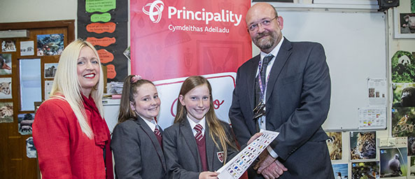 Image showing Debbie Luke (Principality), students from Prestatyn High School and Andy Hall, Assistant Head Teacher at Prestatyn High
