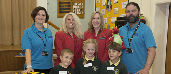 Image showing colleagues from Techniquest Glyndwr and Principality Building Society teaching a local primary school