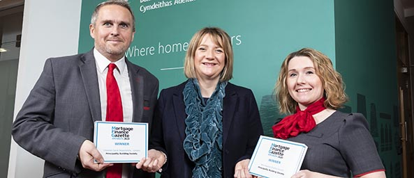 Image showing Andrew McGill (Branch Manager Queen Street), Julie-Ann Haines (Chief Customer Officer) and Natalie Iynham (Customer Consultant) celebrating the awards.