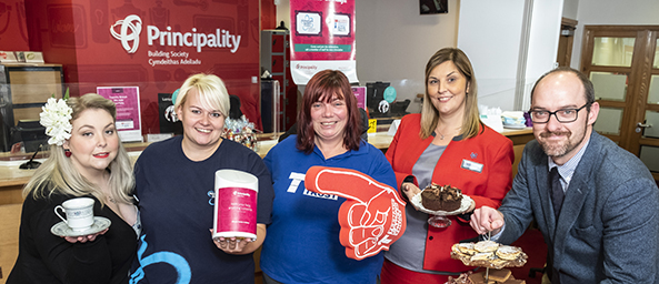 Image showing colleagues from Principality celebrating with Yvette James (Teenage Cancer Trust) and Lindsey Whatley (Alzheimer's Society)