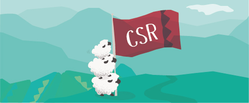 Graphic showing three sheep displaying a banner reading CSR