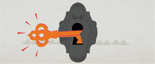 Graphic showing shining key in a lock