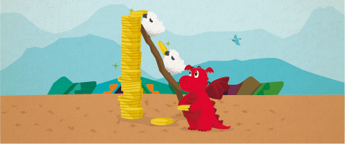 Graphic showing Dylan the Dragon helping sheep save money