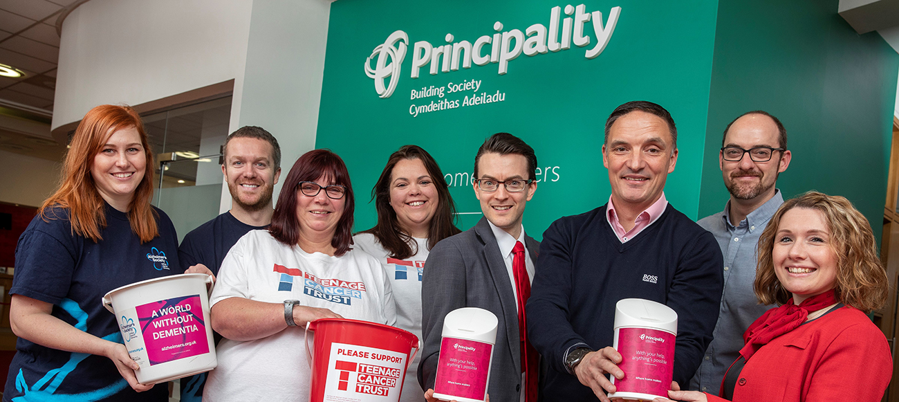 Colleagues from Principality, Teenage Cancer Trust and Alzheimer's Society Cymru delighted to announce partnership.