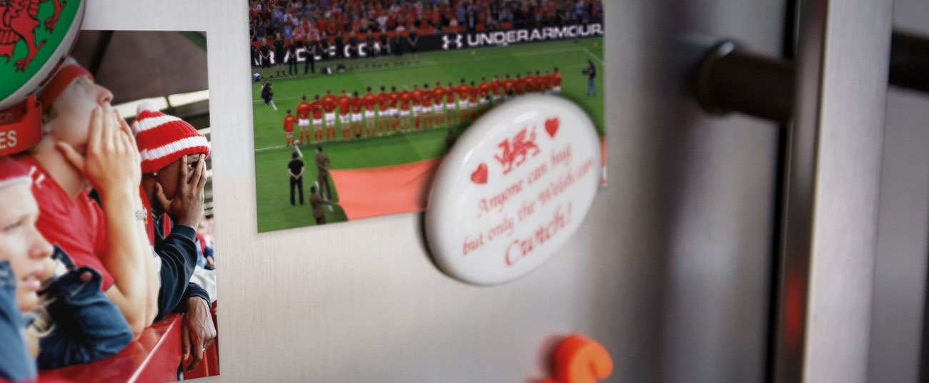 Welsh rugby memorabilia stuck to fridge door